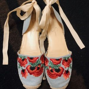 Jessica Simpson ballet style embroidered sandal.